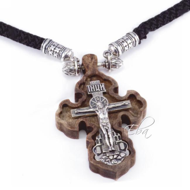 настенный крест резьба дерево серебро купить по цене